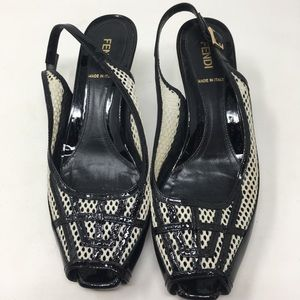 FENDI black patent mesh slingback heels